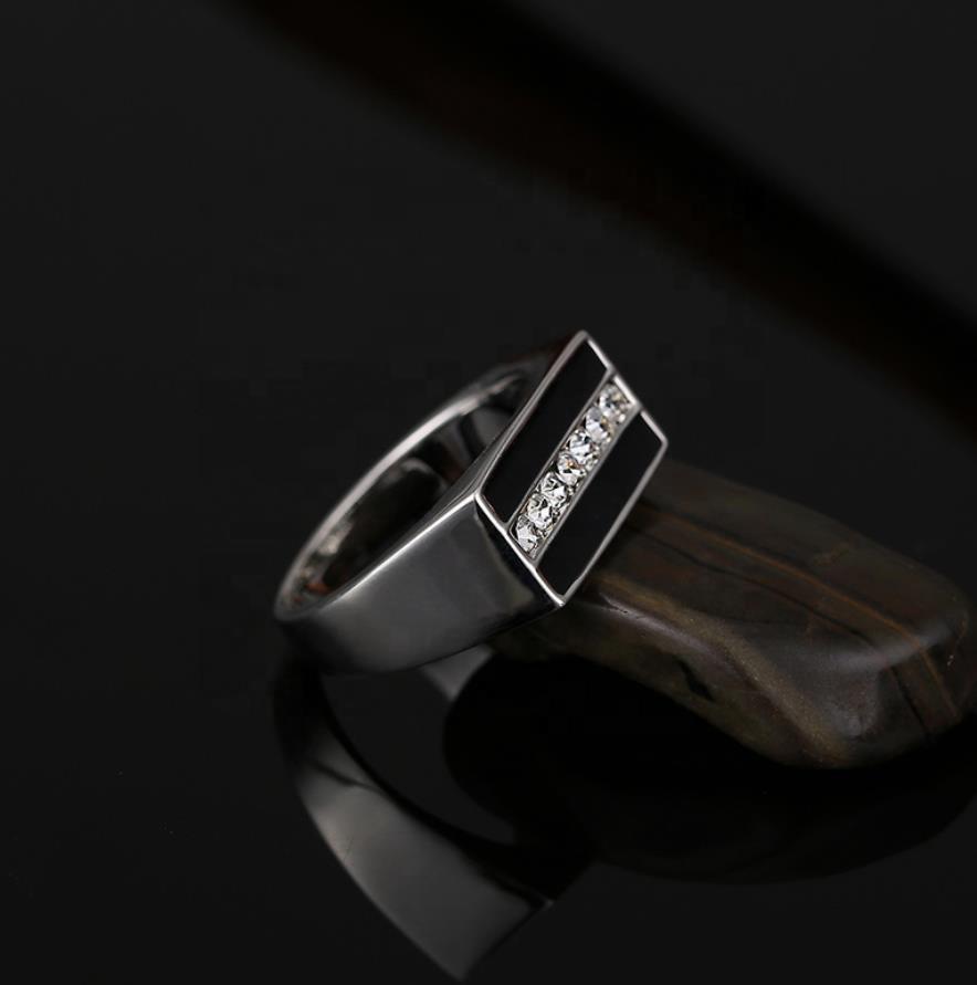 Fashionable Men Black Stripe Square Cz Stainless Steel Rings