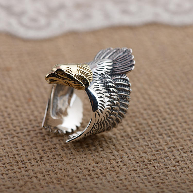 Punk Eagle Ring Gold Plating, Adjustable Plume Feather Ring Silver 925