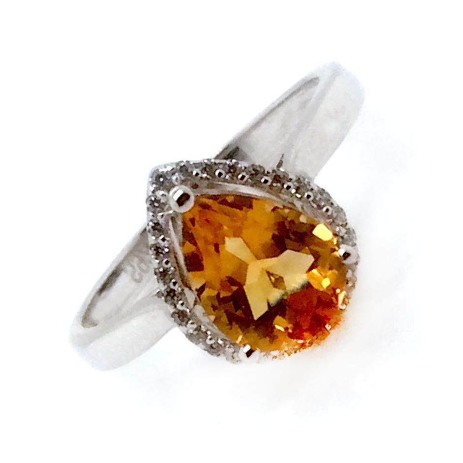 Water Drop Design Silver Finger Yellow Stone Jewelry Alexandrite Ring