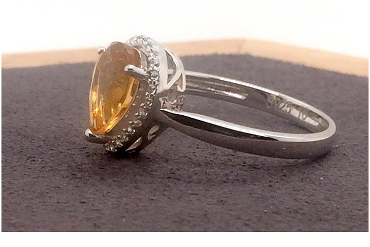 Charming beauty handmade silver jewelry yellow sapphire ring