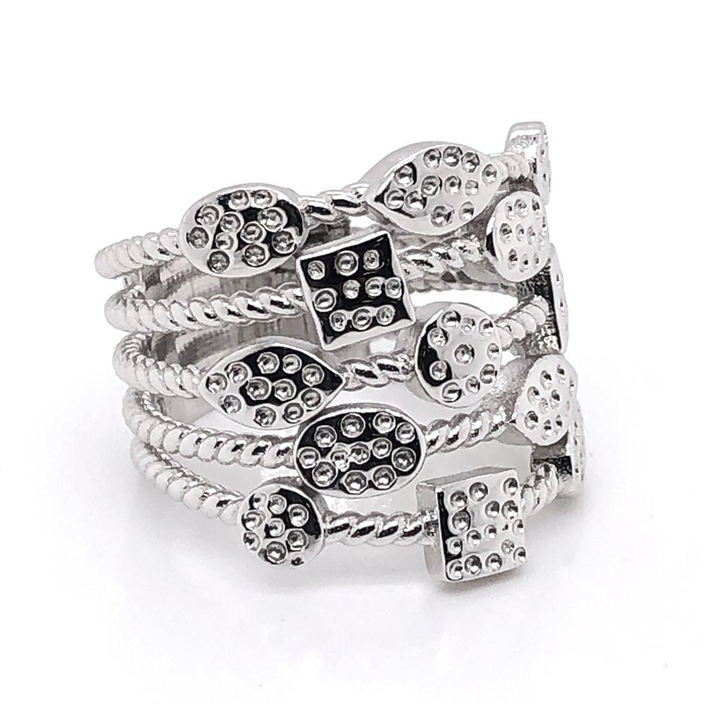 Fashion Women Engagement Jewelry Silver Ring Geometric Multi-layer Design