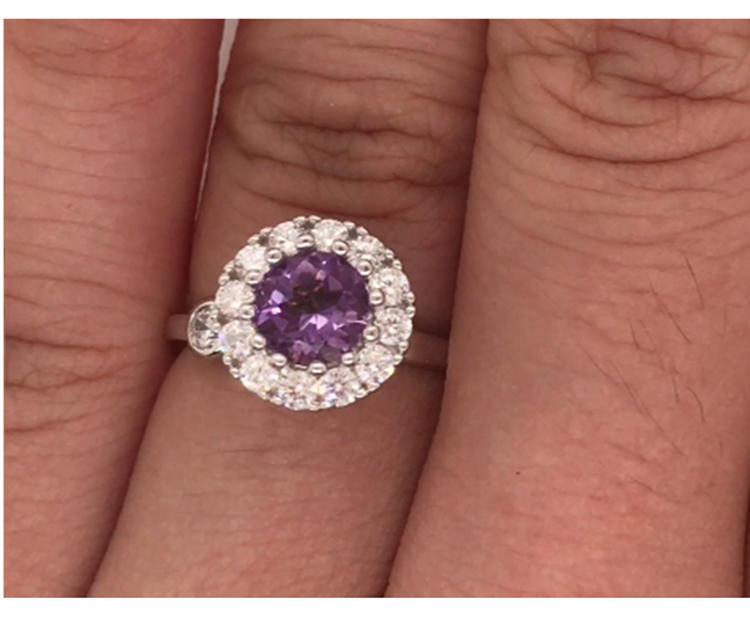 Amethyst nice female 18k white gold wedding band ring