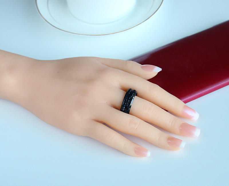 Double Row Diamond Stainless Steel Ring, Diamond Male Ring