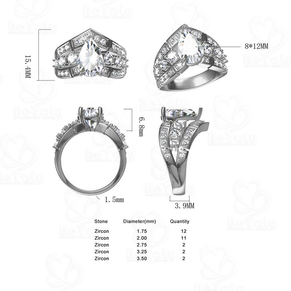 Custom Design 925 Silver Three Layered V-Shaped Waterdrop Zircon Ring