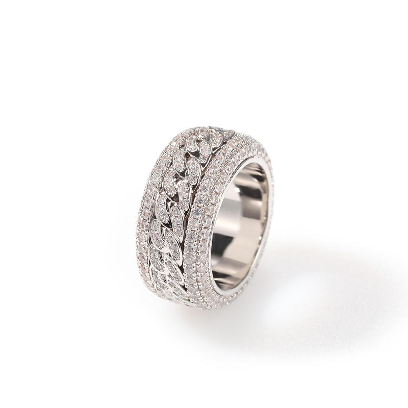 Hip Hop Zircon With Swivel Cuban Ring, New Cuban Rotatable Ring