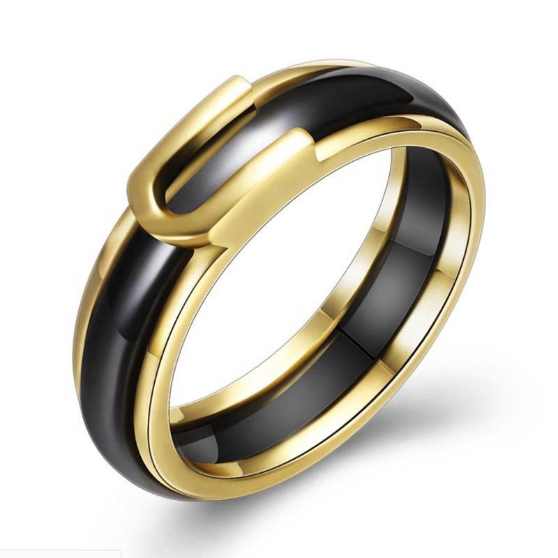 Ceramic Jewellery Fashionable Laser Engraved Titanium Ring