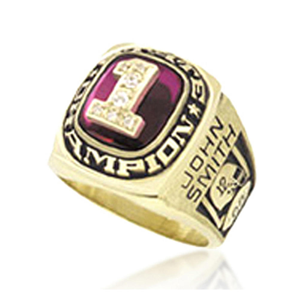 Own Design Custom Name Gold Plated Red Enamel Rings Jewelry