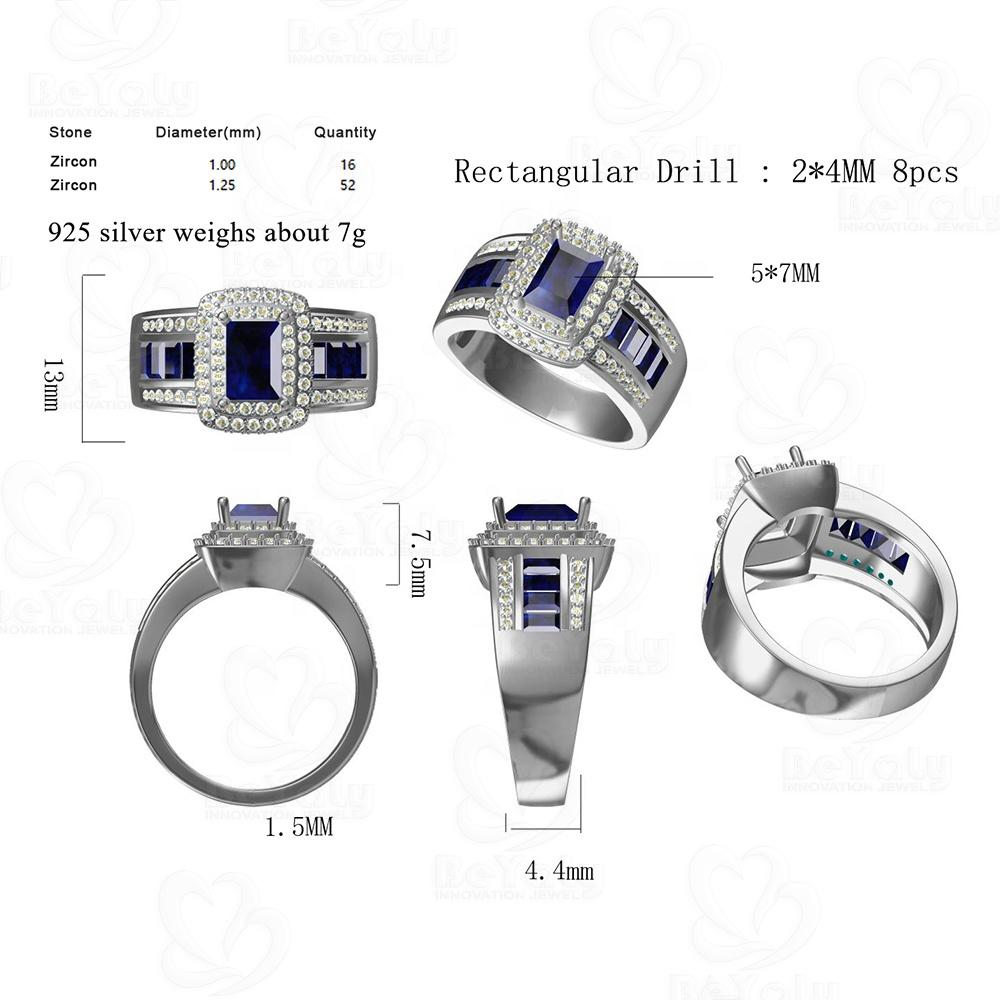 Beyaly CAD Custom Jewelry Blue Rectangular Drill Multi Clear Zircon Pave Setting Ring