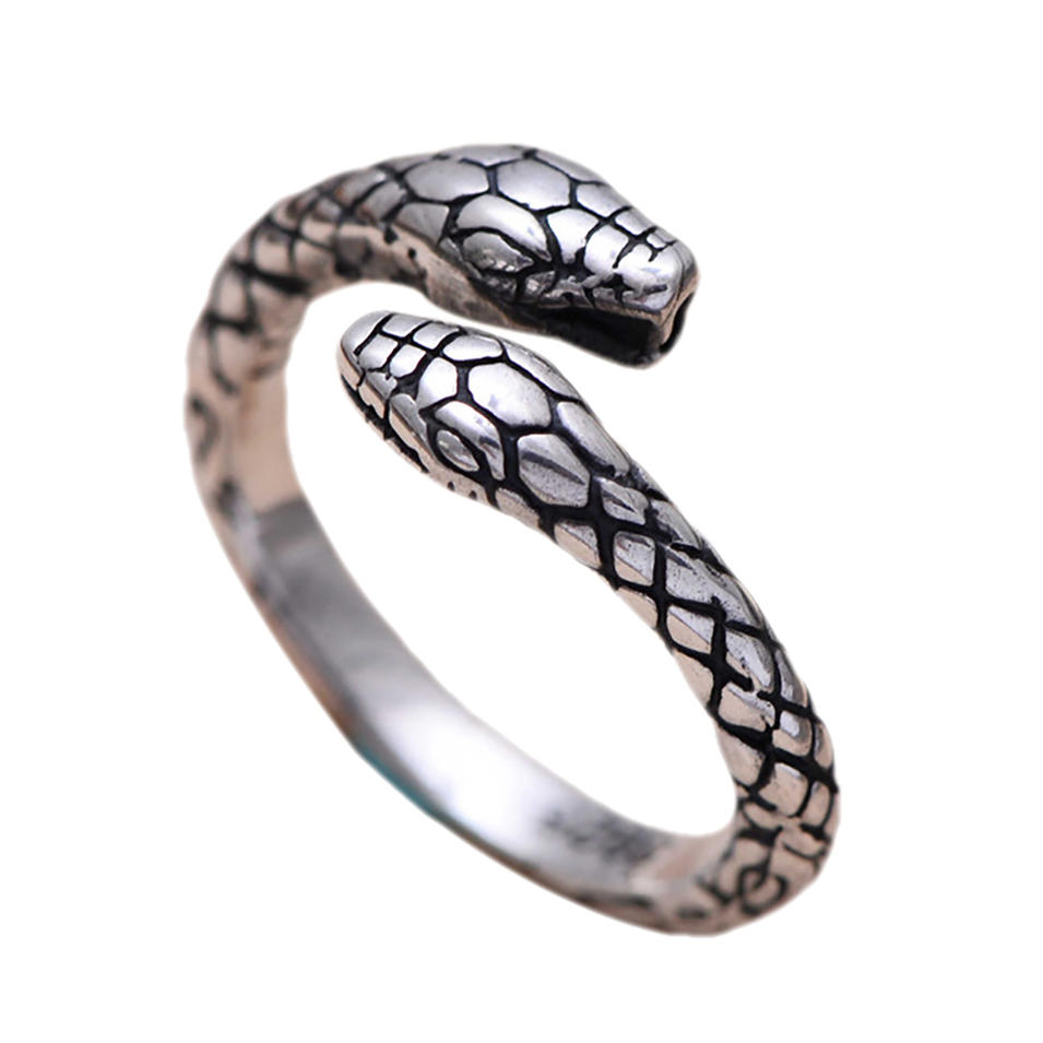 Engraved antique thai silver jewellery snake shaped rings
