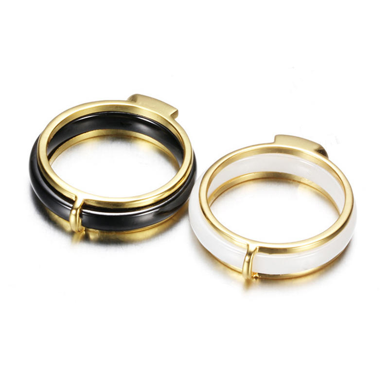 Gold Stainless Steel Love Black And White Ceramic Ring Male, Simple Stainless Steel White Black