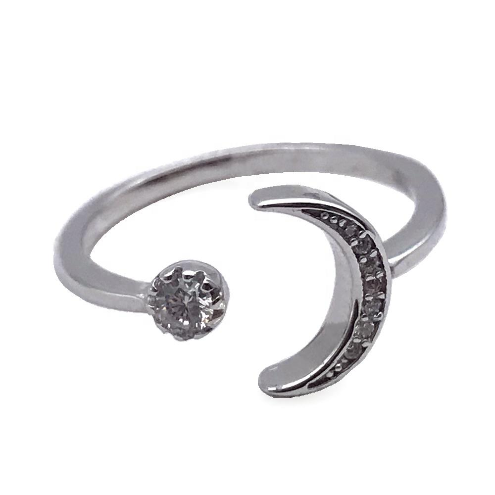 Glamour star and moon antique silver ring and sterling silver