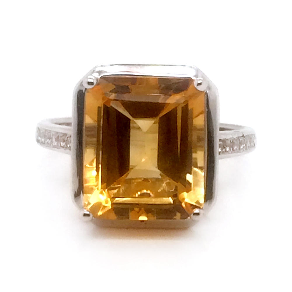 Popular cheap yellow stone silver ring design with square gem