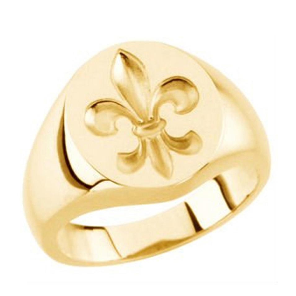 Fancy Gold Plated Cheap Custom Signet Ring Iris Engraved