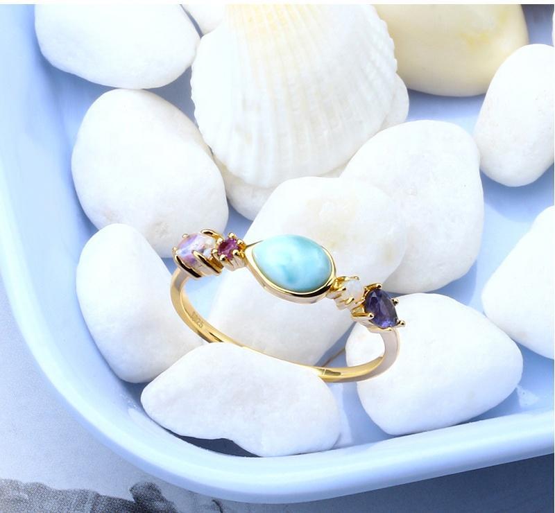 S925 Color Lalima Natural Sea Stone Ring, Splendid Female Love Silver Larimar Ring
