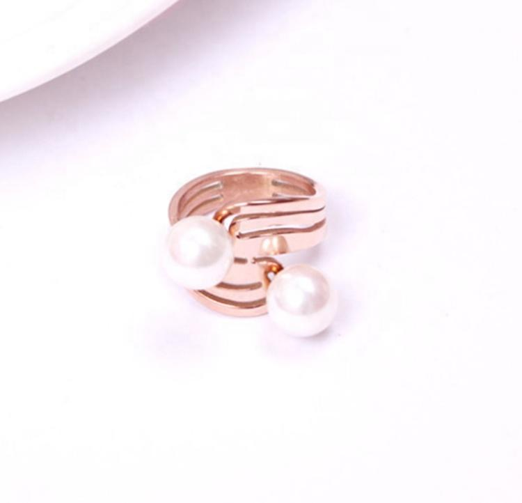 Fashion Hollow Design Gold Baroque Pearl Ring Designs