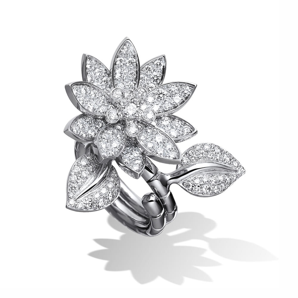 Beauty pave setting cz lotus flower engagement rings