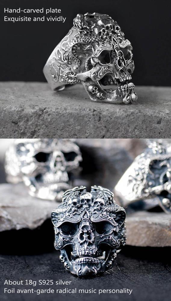 Ded Eye Punk Skull Ring For Man Stainless Snd Silver Also, Skull Head Silver Ring