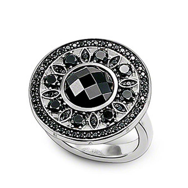 Flower Design Silver Rings Jewelry Black Obsidian Diamond Finger Ring