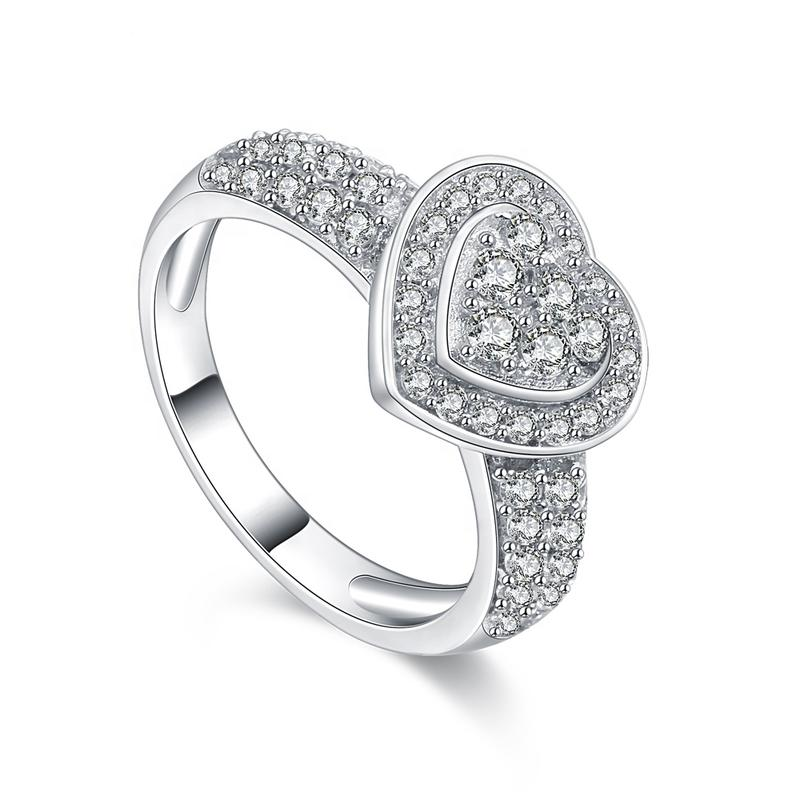 Attractive Price Women'S 925 Silver Heart Cz Rings Thailand