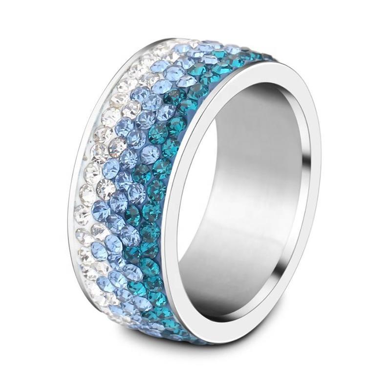 Popular Stainless Steel Diamond Ring, Ornaments Progressive Blue Color Ring