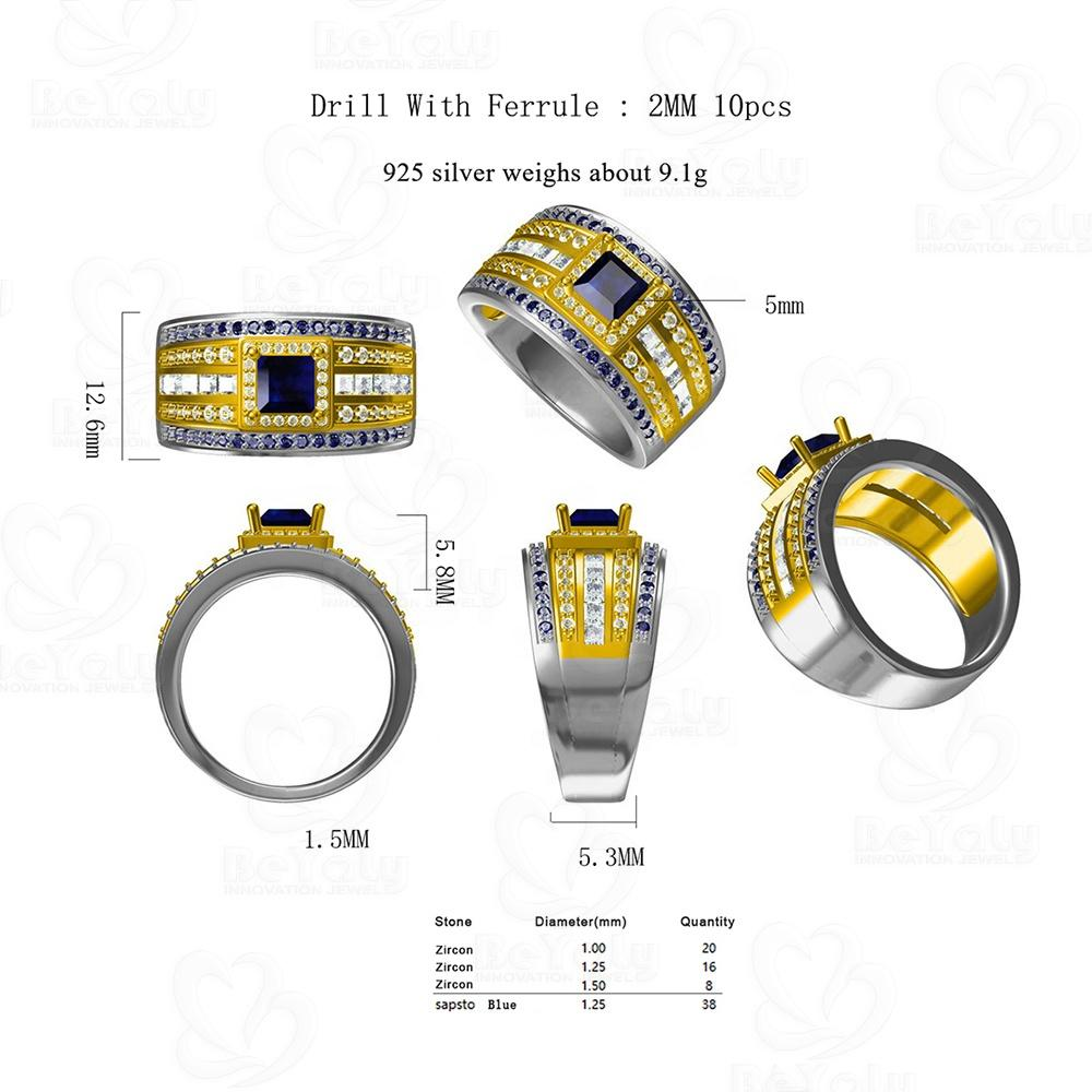Beyaly CAD Custom Jewelry Drill With Ferrule White And Blue Zircon Ring For Men