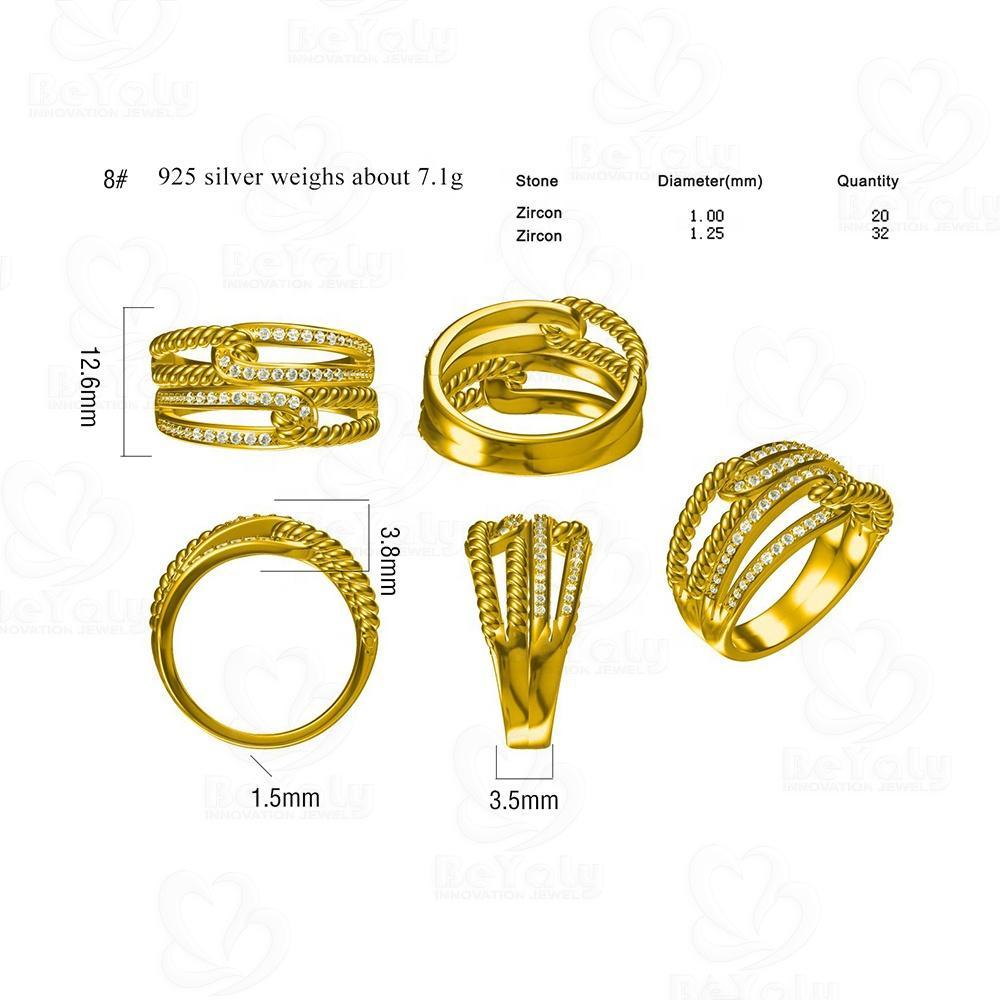 Beyaly CAD Custom Jewelry Twist Double Clasp Design Golden Ring With Zircon