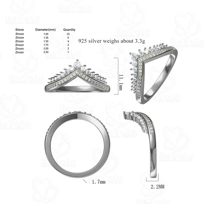 Beyaly CAD Custom Jewelry Double Layered Stone Crown Ring Simple Style