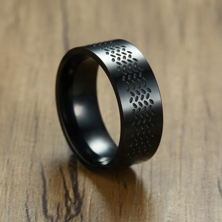 Stainless Steel Cheap Men Black Enamel Bike Ring Hiphop