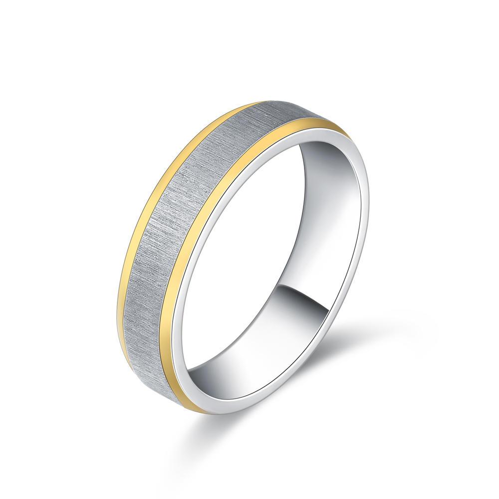 Simple Gold Rim Stainless Steel Sand Blasting Rings For Men And Women