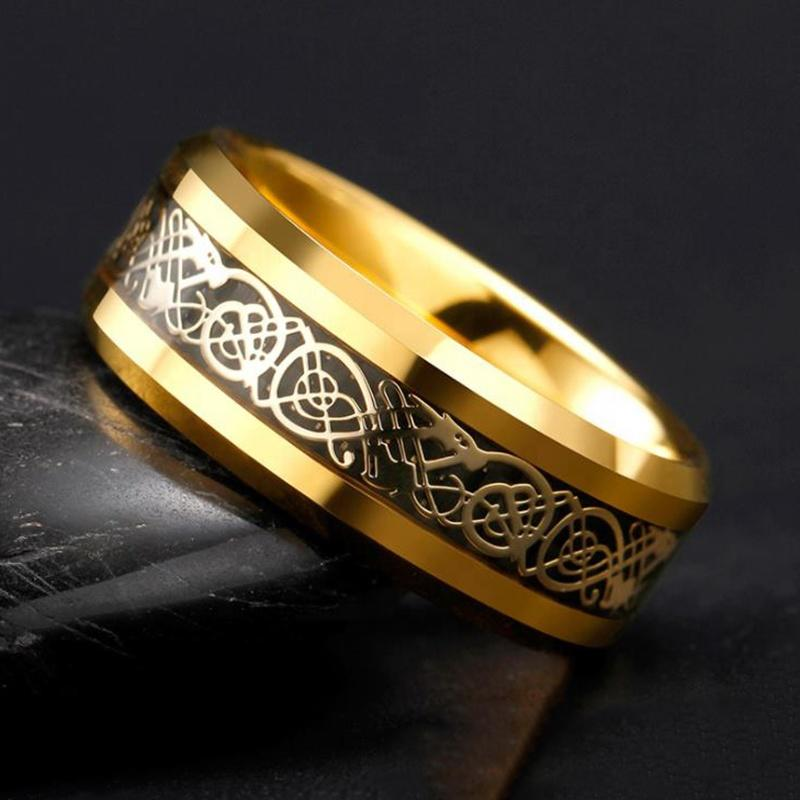 Gold Plated Tungsten Steel Ring With Laser Engrave