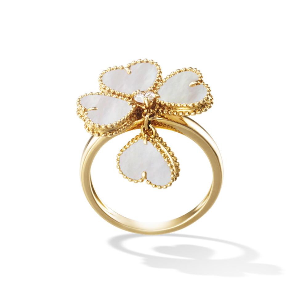 Fashion Silver Clover 14K Gold Jewelry Wholesale Ring Set