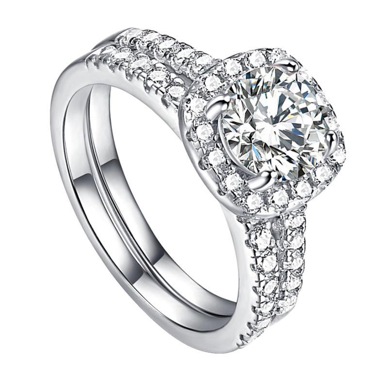 Elegant Silver Bijoux White Artificial Diamond Engagement Ring Dismountable