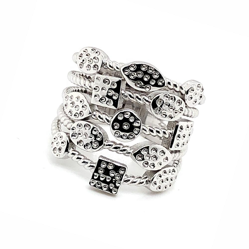 Chic Women Geometric Elements Collection Dotted Design Silver Prom Jewelry Rings