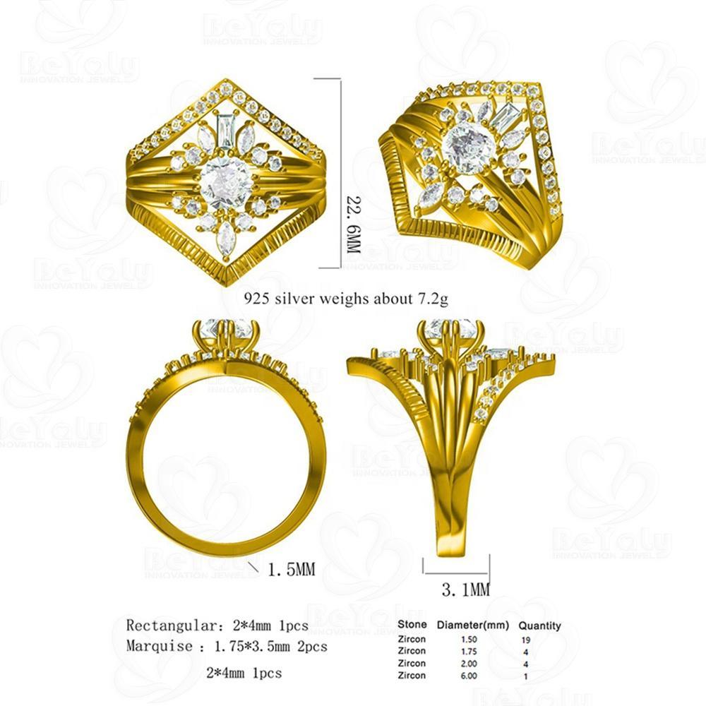 Beyaly CAD Custom Jewelry Rectangular Marquise Round Stone Ring Design
