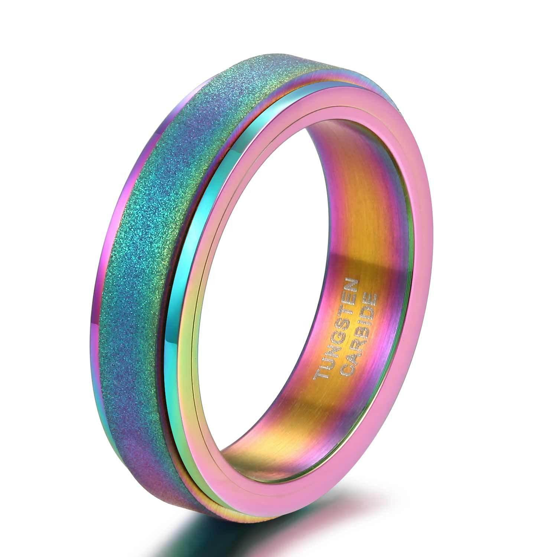 Dull Polish 6mm Tungsten Steel Rotating Ring, Rainbow Magic Color Plating Ring