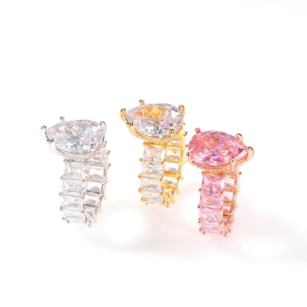 Water Drop Square Zirconium Hip Hop Ring, New Fashion Single Row Zircon Ring