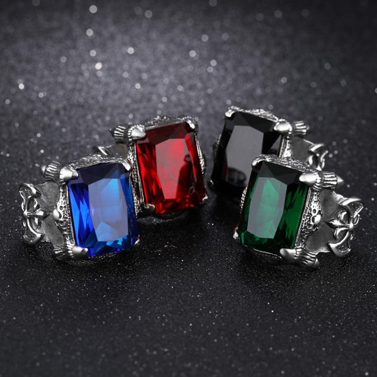2020 Jewelry Stainless Steel Blue Red Green Colored Glass Ring