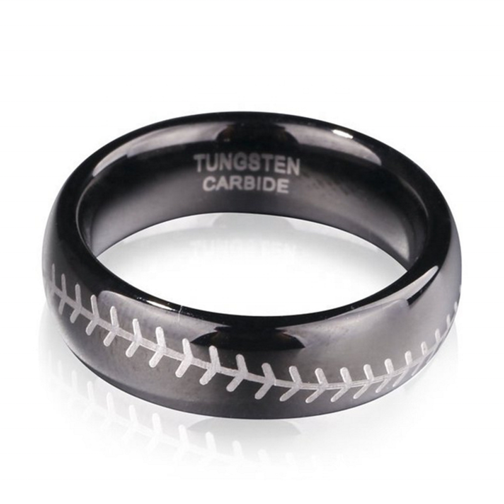 Wholesale Cheap Black Enamel Tungsten Custom Baseball Rings