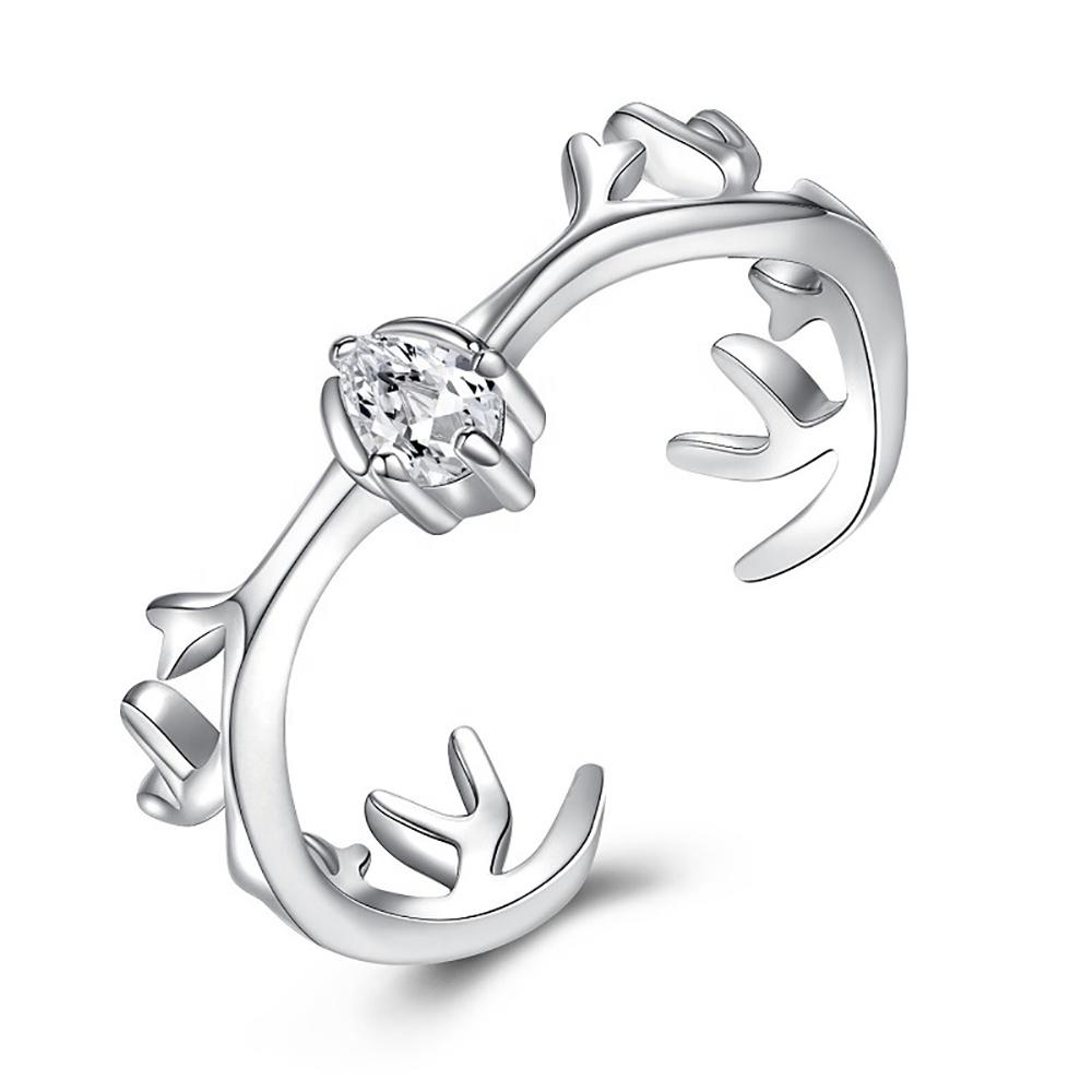 Deer Antler Silver Rings 925, Cubic Zirconia Ring In Sterling Silver