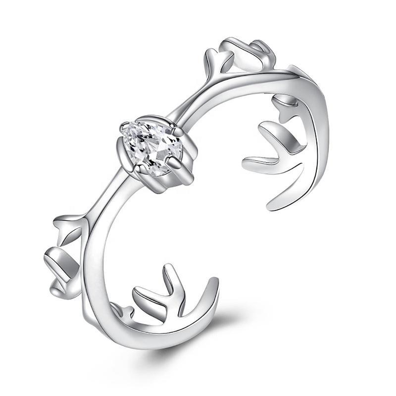 Deer Antler Silver Rings 925, Cubic Zirconia Ring In Sterling Silver