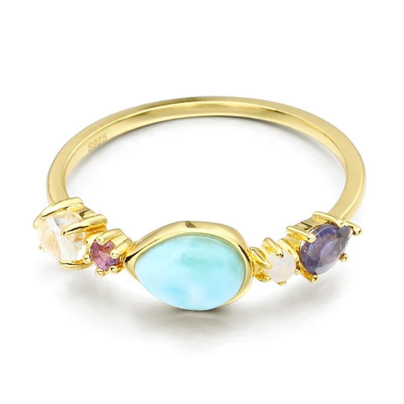 S925 Color Lalima Natural Sea Stone Ring, Splendid Female Love Silver Larimar Ring