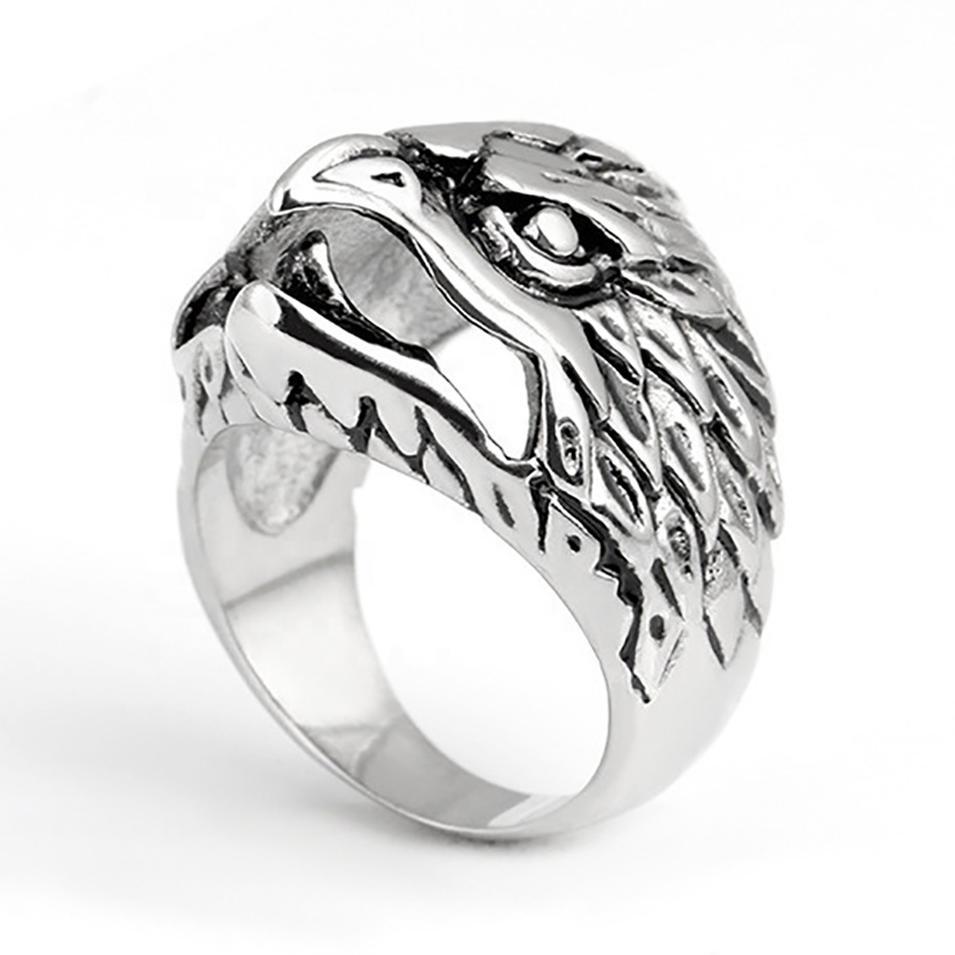 Wholesale custom casting stainless steel eagle ring for men