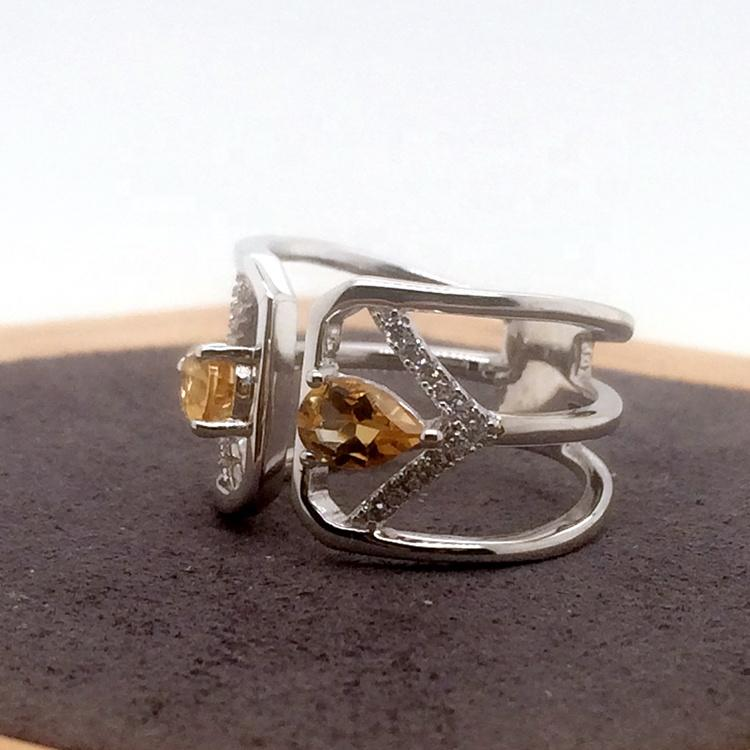 Fancy Yellow Topaz Gemstone Price White Gold Ring Design For Couples
