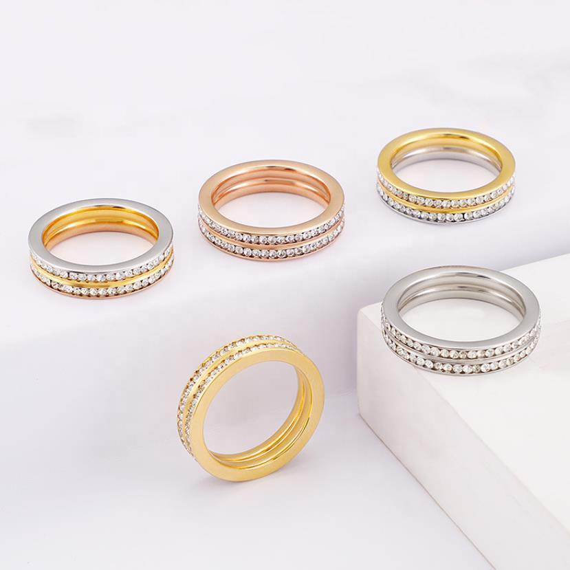 Full Diamond Double Row Ring, Fashion Stainless Steel Ring