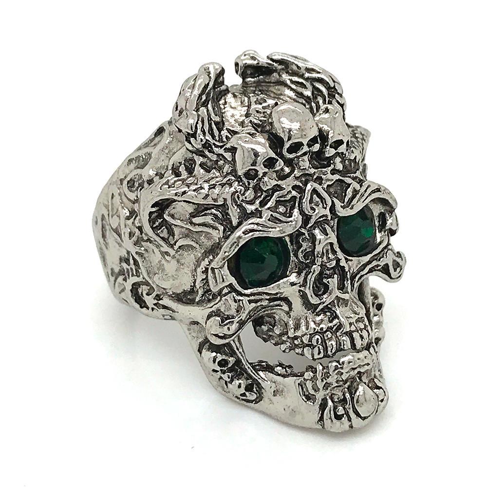Colored Stone Eye Design Skull Shape Skeleton Ring For Punk Men And Women