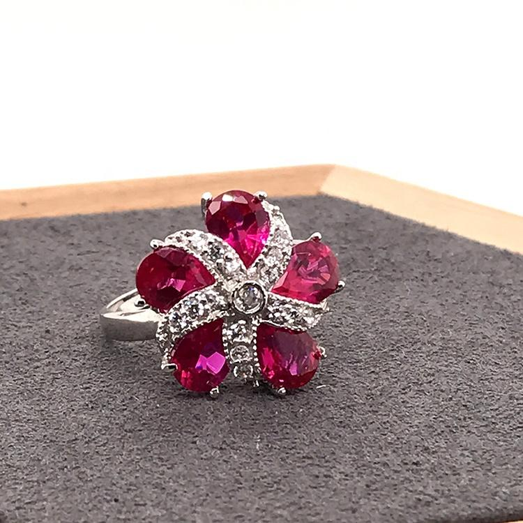 Big stone anniversary flower silver new design ring