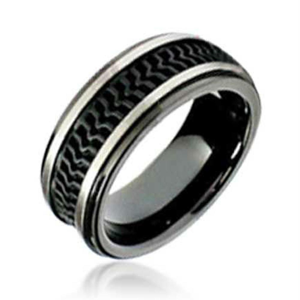 Fashion stainless steel men black silicon wedding band ring