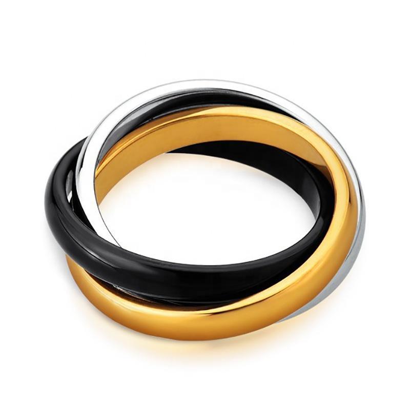Three Circle Ceramic Ring, Fashion Stainless Steel Ceramic Ring Manufacturer