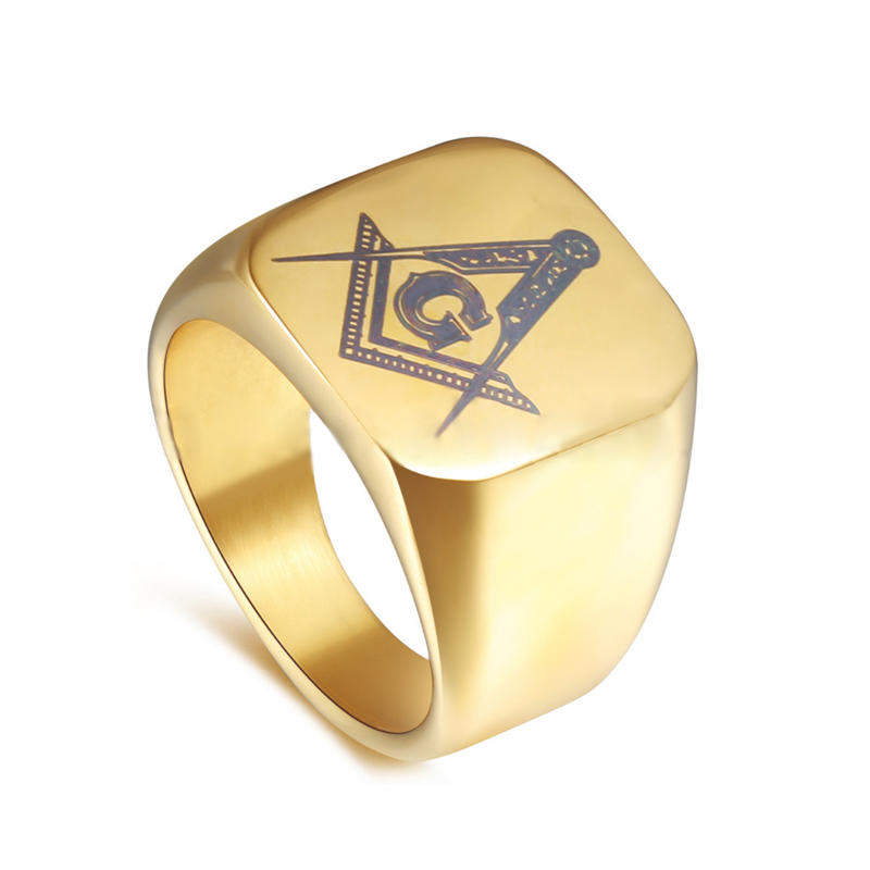 Custom signet gold plated stainless steel college class rings