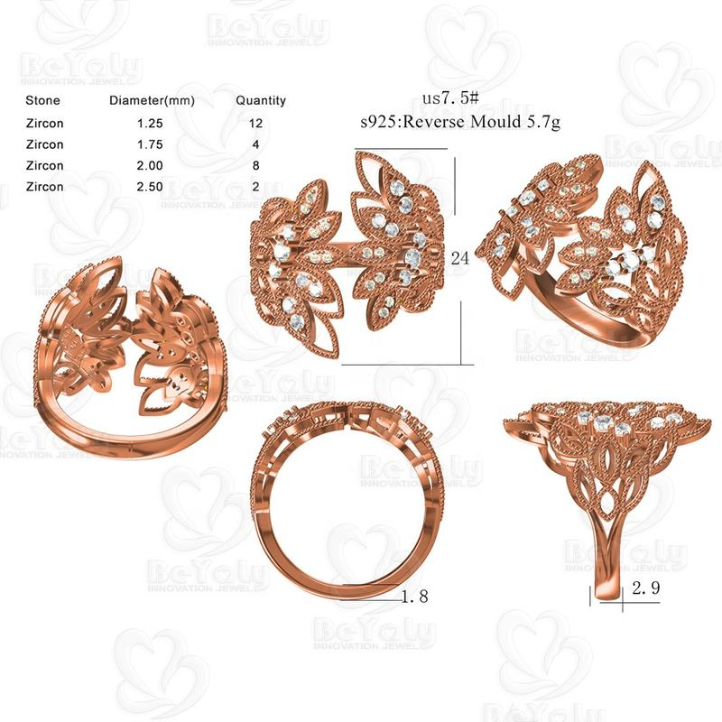 Beyaly CAD Custom Jewelry Rose Gold Colored Wide Rings With Feathered Wings Design